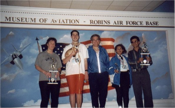 Kendall, Brenton Floyd & Tom Adair with two other marathoners at the Museum of Aviation Marathon 2003
