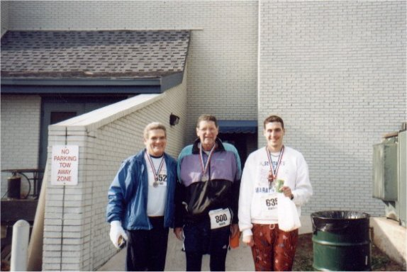 Tom Adair, Norm Franks & Brenton Floyd at Rocket City Marathon 2002. This was also Norms 800th marathon.