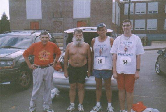 Eugene, Henry, Ray Scharenbrock & Brenton Floyd at New Hampshire Marathon 2002.