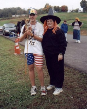 Brenton Floyd & Taco (the dog) with the good witch of the west at the Old Mulkey Classic 2002.