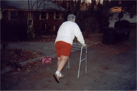 Betty Mae Burrell 1 week after knee replacement at mile 25!!!