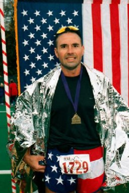 Blake Uhl at the finish of Seattle Marathon 2001