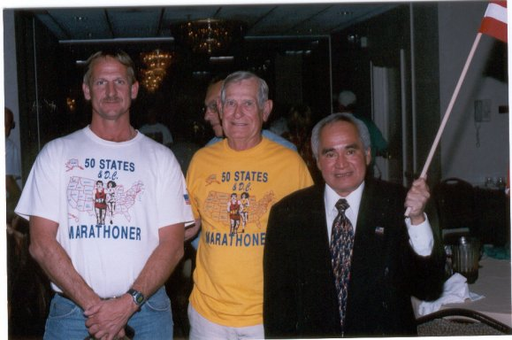 Jerry Schaver,Dean Rademaker, and Josa Nebrida at the DesMoines Marathon 10/06/02