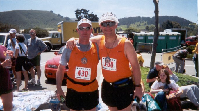 Steve Noble and Michael Zyniewicz finish the Big Sur Marathon 2001 and Steve Noble's 100th Marathon
