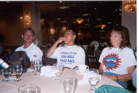 Jerry Schaver, Hajime Nishi, and Jerry's good friend Jennifer DesMoines Marathon spaghetti Dinner 10/05/02
