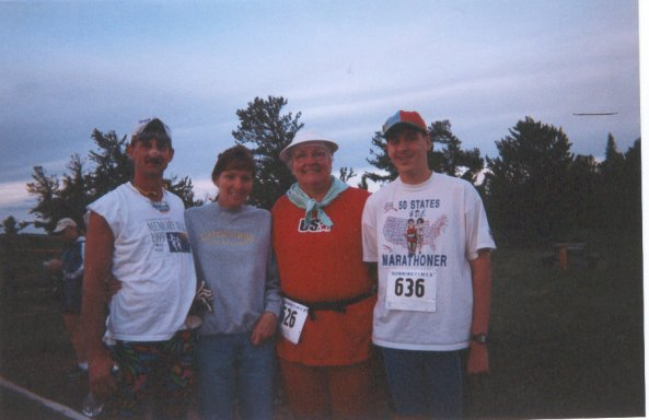Jerry Schaver, Jennifer, Betty Mae Buerell, Brenton Floyd, Wyoming Marathon 2001