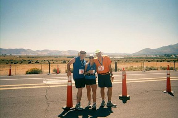 Silver State Marathon Aug 2001 Mohammed Zaatari, Running Partnre Kathy, and David Neuman Photos by Mohammed O. Zaatari