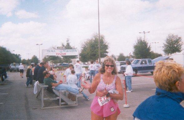 Sharon Kerson finishes the Ocala marathon