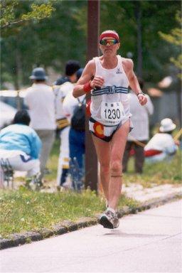Jim Bitgood running Toyako Marathon around Lake Toya in Hokkaido, Japan May, 1998