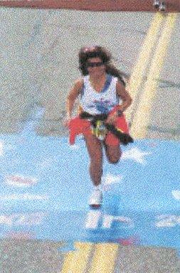 Boonsom Hartman finishes the Boston Marathon 2002