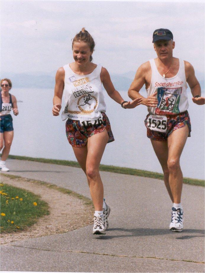 Kamala Gamble and Lance Cornman running the Vermont City Marathon in 1997.