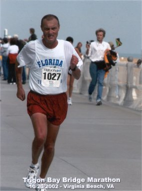 Ronald Greene running the Trigon Bay Bridge Marathon 2002.