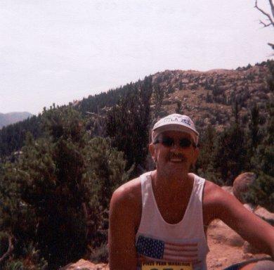 Chuck Struckness takes a break at the Pikes Peak Marathon.