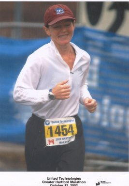 Patricia Beasley running the Hartford Marathon 10/12/02