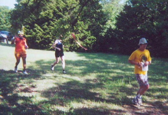 Richard Harris running at Lake McMurtry 50K near Stillwater, OK 04/28/01
