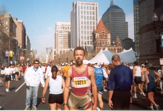 Gunars Akerbergs at the Boston Marathon, 2002