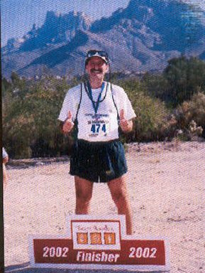 Terry Crapanzano finish photo of the Tucson Marathon. 12/08/02