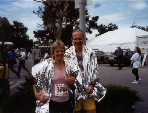Jim Geiger and Theresa Pipher after finishing the Big Sur Marathon