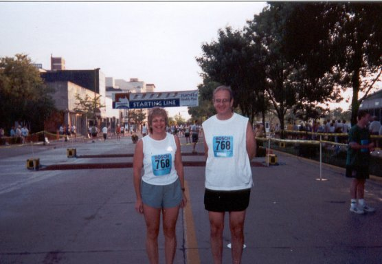 Jim Geiger and Theresa Pipher at the starting line of the Sunburst Marathon in South Bend, IN