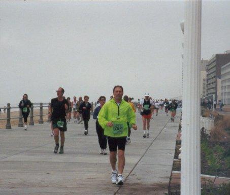 Ralph Edwards running the Shamrock Marathon at Virgina Beach in March, 2001