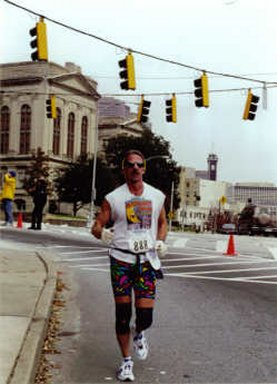 Jerry Schaver finishing up the Atlanta, GA marathon