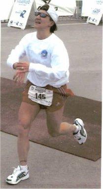 Wendy Hall finishing the Motorola Marathon in Austin Texas