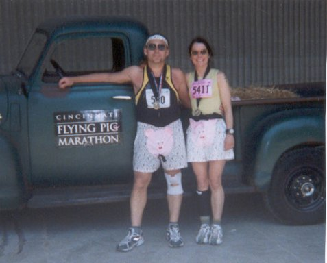 Chester and Diane Jozefski, at the Flying Pig Marathon 5/05/02