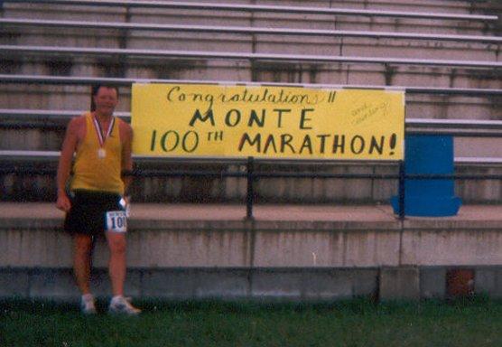 Monte Fjsone finishing his 100th Marathon!