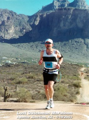 Carl Hunt, running the Lost Dutchman Marathon in Apache Junction, AZ 1/19/03