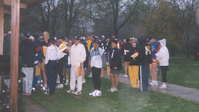 Packet pick-up for the Triple Crown Marathon in Newark, DE 4-26-03