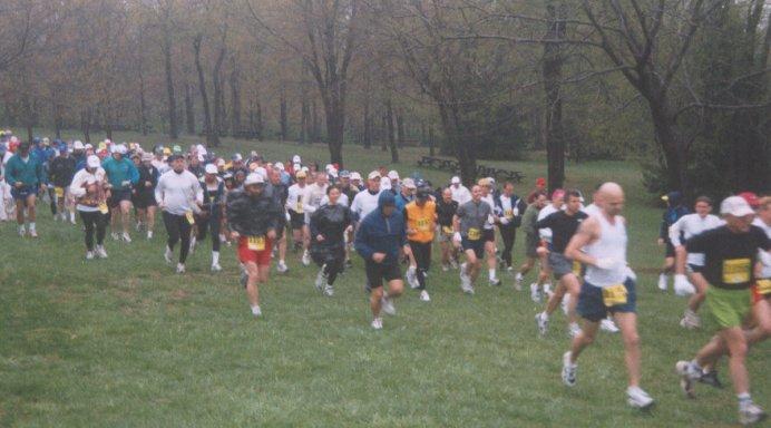 And the race begins! Start of the Triple Crown Marathon in Newark, DE