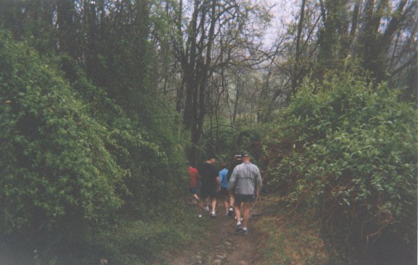 Heading down the trail at the Triple Crown Marathon.