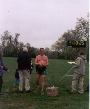 Carl Guiferson at the finish of the Triple Crown.