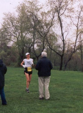 Kay McVey coming to the finish at Triple Crown.