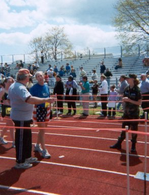 Art Spander at the finish of the NJ Shore Marathon. 4-27-03