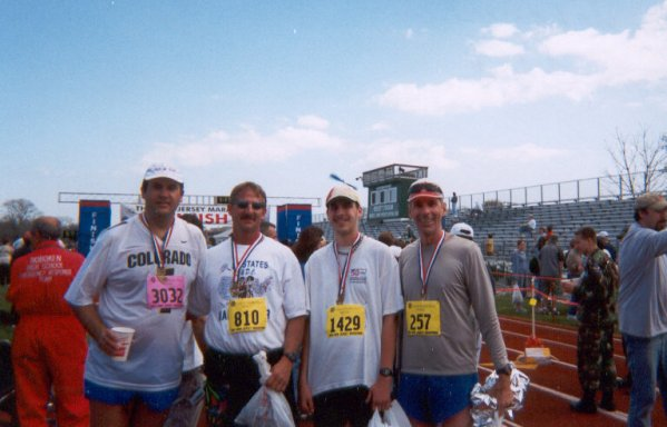 Jarrett Roberts, Jerry Schaver, Brenton Floyd and Jim Simpson after the finish of the NJ Shore Marathon. 4-27-03. All four completed back to back marathons that weekend.