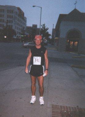 Daniel Wilson, before the start of the Lincoln Marathon, 2001