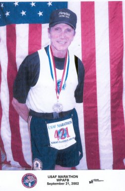 Franncesco Criniti's finish photo for the USAF Marathon in Dayton, OH 9/21/02