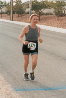 Gunveig Janse from the Netherlands running a marathon.