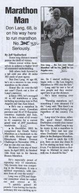 Marathon Man, Don Lang, 68 is on his way to run the San Juan Island Marathon. It with be Don's #336th Marathon