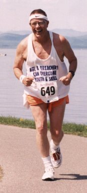 Tom Pebworth running the Vermont Key Bank Marathon, May 26, 1996