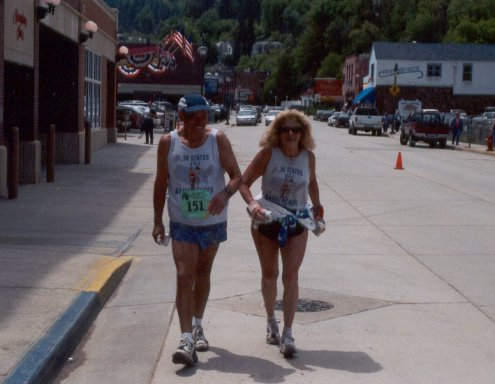 Ray Scharenbrock and Sharon Kerson nearing the finish of the Deadwood Marathon on June 8, 2003