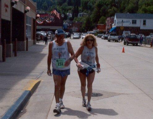 Ray Scharenbrock and Sharon Kerson nearing the finish of the Deadwood Marathon on June 8, 2003