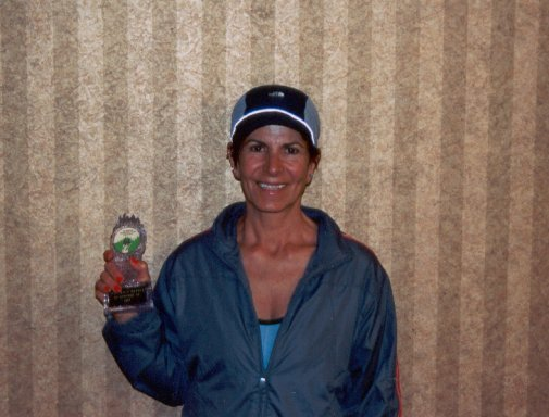 Hammie Farrokhi takes home the award for placing in her age bracket at the Deadwood Marathon