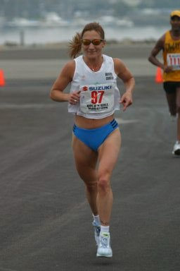Wendy Hall nearing the finish of the San Diego Marathon.