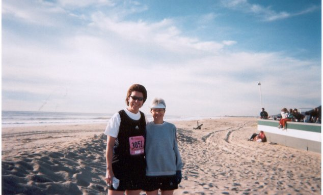 Lynda Petri and Rose Ann Jolly posing for a photo along the Jersey Shore Marathon.