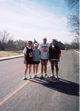 The group takes yet another break for a photo at the Jersey Shore Marathon. Lynda Petri, Rose Ann Jolly, Jarrett Roberts and Jerry Schaver.