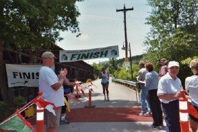 James Patton finishes the Deadwood Mickelson Trail Marathon 2003.