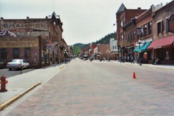The streets of Deadwood, S. Dakota near the finish line of the marathon.