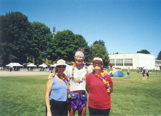 Dana Reising, Jim Boyd, and Layne Reibel at the Relay for Life in Seattle WA. 07/12/13/2003